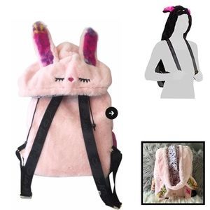 Betsey Johnson Bunny Hooded Rabbit Pink Backpack